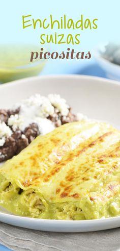 ¡Si sabes de cocina mexicana, conoces las enchiladas suizas! Tortillas de maíz rellenas de pollo y bañadas en una cremosa salsa verde picosita y para rematar queso gratinado encima, no dejes de hacerlas!