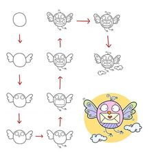 Follow step by step to draw this cute bird.
