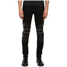 God's Masterful Children Chain Biker Jeans (Black/Black) Men's Jeans (630 BRL) ❤ liked on Polyvore featuring men's fashion, men's clothing, men's jeans, mens slim fit jeans, mens skinny biker jeans, mens zipper jeans, mens skinny jeans and mens super skinny jeans
