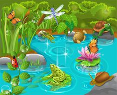 Illustration about Pond animals living happily together. Illustration of cartoon, pond, organic - 31549160 Childrens Wall Murals, Murals For Kids, Pond Painting, Mural Painting, Animal Paintings, Animal Drawings, Frog Nursery, Pond Animals, Painted Flower Pots