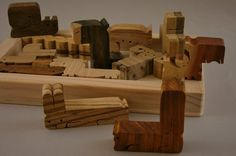 Natural Wood Puzzle Pentomino Wood Grain Edition by scrollwoodshop
