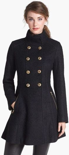Guess Black Fit Flare Bouclé Military Coat
