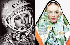 Left, Yuri Gagarin, the first cosmonaut, in the cockpit of the spacecraft Vostok-1 before blastoff. © STF/RIA-Novosti. Right, the Elite model Valeria Avdeeva wearing a Carré scarf by Hermès, makeup by Topolino. Image by Inaki for cover of L'Officiel Russia n°50, 2003. © Inaki, Studio G, Paris.