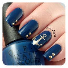 ⛵Navy Blue and Gold Nautical Nails With Anchor⚓️