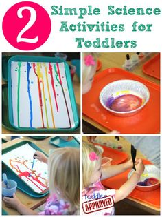 Art meets Science for #Toddlers! Ramp drip painting introduces idea of gravity. Milk and paint make for colorful explosions!