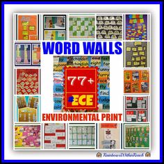 Word Walls & Environmental Print RoundUP: 77 Examples at RainbowsWithinReach Classroom Word Wall, School Classroom, Classroom Ideas, Classroom Design, Chalkboard Classroom, Seasonal Classrooms, Sight Word Wall, Sight Words, Word Study