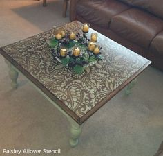 Adorable paisley allover stenciled diy table. The perfect way to upcyle old furniture is to stencil with Cutting Edge Stencils. http://www.cuttingedgestencils.com/paisley-allover-stencil.html