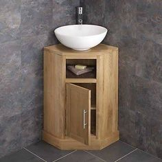 Solid Oak Space Saving Corner Bathroom Freestang Vanity Unit Round