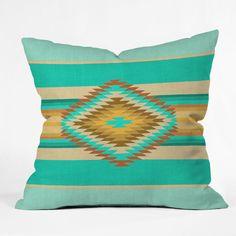 DENY Designs Home Accessories   Bianca Green Fiesta Teal Throw Pillow