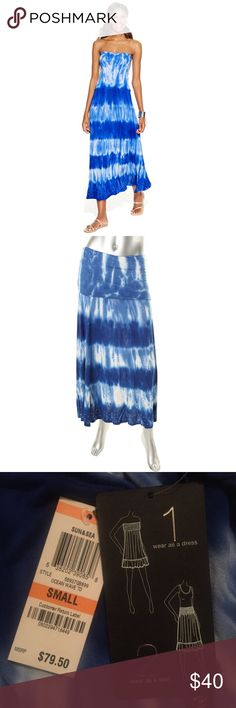 Convertible maxi skirt dress INC International Concepts convertible blue tie-dye maxi. Wear as skirt or dress. Delicately embellished. Purchased from Macy's. Brand new with original tag. Fits true to size. INC International Concepts Dresses Maxi