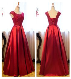 Red Sleeveless Applique Prom Dress,Long Prom Dresses