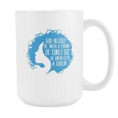 Curls mug - God blessed me with a Crown of Curls-Drinkware-Teelime | shirts-hoodies-mugs