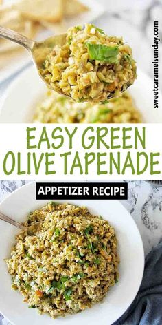 Green Olive Tapenade makes an easy appetizer!! Serve with crostini, stir through pasta, pair with chicken or use a a dip. #tapenaderecipes @sweetcaramelsunday Green Olive Tapenade, Olive Green, Appetizer Recipes, Dinner Recipes, Appetizers, Dessert Recipes, Olive Recipes, My Recipes, Coconut Prawns