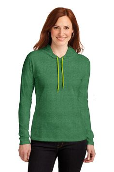 NEW Anvil® Ladies 100% Ring Spun Cotton Long Sleeve Hooded T-Shirt. 887L.