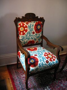 Antique Eastlake Oak Chair updated in Ikat by TheSowsEarByAlina, $300.00
