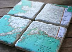 Vintage Atlas Map Coasters - #Alaska Set of 4 via Etsy