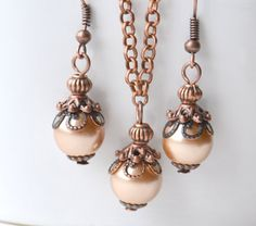Cappuccino bridesmaid jewelry set Light brown Mocha Necklace Earrings Bridesmaid gift Beaded jewelry Wedding party Rustic wedding Vintage