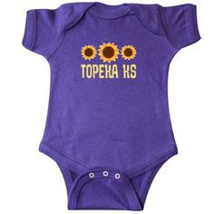 Inktastic Topeka Kansas Sunflower State Infant Creeper Baby Bodysuit Sunflowers Pride Home Hometown Cities City Travel Cute Gift One-piece Hws, Infant Girl's, Size: 18 Months, Purple