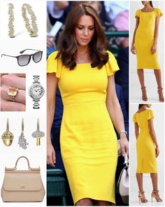 The Duchess of Cambridge looked stunning in a new canary yellow dress by Dolce & Gabbana, as she and The Duke watched the Wimbledon Men's…