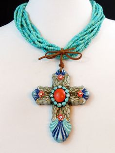 Cowgirl Bling CROSS Feathers Turquoise Rhinestones Native Tribal Gypsy necklace our prices are WAY BELOW RETAIL! all JEWELRY SHIPS FREE! www.baharanchwesternwear.com baha ranch western wear ebay seller id soloedition