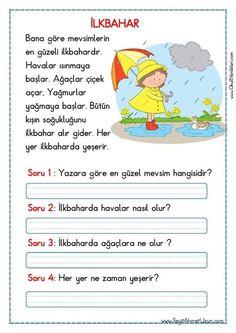 OKUMA ANLAMA METNİ – İLKBAHAR pdf formatında özgün bir çalışma olarak hazırlanmıştır. Aşağıda bulunan linkten kolayca indirebilirsiniz. Tüm çalışmalarımızı kendi emeklerimizle özgün olarak hazırlıyoruz bu.. Learn Turkish Language, Learn A New Language, Turkish Lessons, Student Motivation, Reading Passages, Stories For Kids, Activities For Kids, First Grade, Learning