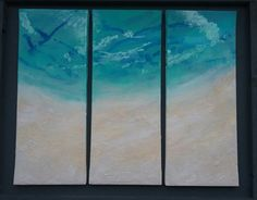 BEACH PAINTING  large triptych 50cmx20cm(3) acrylic on stretched canvas with real sand turquoise sea modern home decor by FGillies on Etsy