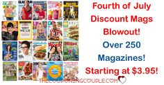 HOT BANG DEAL! Fourth of July Discount Mags Blowout is here! Over 250 mags starting at only $3.95! ESPN! Rachael Ray! Weight Watchers! GQ! and so much more!  Click the link below to get all of the details ► http://www.thecouponingcouple.com/fourth-of-july-discount-mags-blowout/ #Coupons #Couponing #CouponCommunity  Visit us at http://www.thecouponingcouple.com for more great posts!