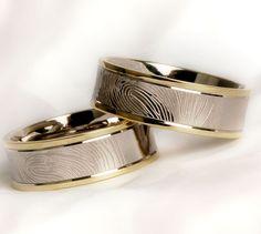 Ringen met een vingerafdruk fantastisch! verkrijgbaar bij Circles ringen, www.circles-trouwringen.nl