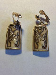 Celebrity Egyptian Revival Clip Earrings Glass by SweetBettysBling