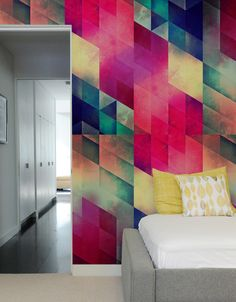 Possibility for back of built-in white bookcase wall to give pop of color | byy byy july ~ Pattern Wall Tiles