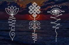 11 Unalome & lotus Sacred symbols by Aleksandra Slowik on Mandala Tattoo Design, Dotwork Tattoo Mandala, Lotus Tattoo, Om Tatoo, Tattoo Ink, Unalome Tattoo, Buddhist Symbols, Sacred Symbols, Hinduism Symbols