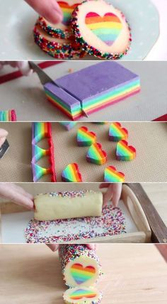 Show your love by making these gorgeous rainbow heart cookies