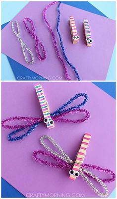 Clothespin Dragonfly crafts for kids! Use pipe cleaners for a spring art project   CraftyMorning.com