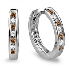 0.20 Carat (ctw) 10K White Gold Small Round Champagne & White Diamond Huggie Hoop Earrings 11mm Diameter. Other ring sizes may be shipped sooner. Most rings can be resized. Items is smaller than what appears in photo. Photo enlarged to show detail. Satisfaction Guaranteed. Return or exchange any order within 30 days. All our diamonds are conflict free. Gemstone : Diamond.
