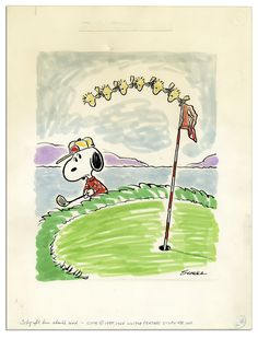 Charles Schulz ''Peanuts'' Golf Theme Color Original Artwork Starring Snoopy & Woodstock From 1965