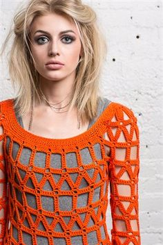 This crochet sweater is fabulous! I love the geometric design. Coldwave Sweater close