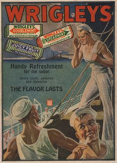 "Vintage gum ad -- although this ad was from before I was born, I sure loved the gum.  That is until 7th grade when my mother sent me to Charm School at a very nice department store.  I remember the woman saying in this haughty voice ""Cows chew their cud.  Young ladies do not chew gum because if they do, they will look like cows chewing their cud.""  I have not had a piece of gum since that day!  lol"