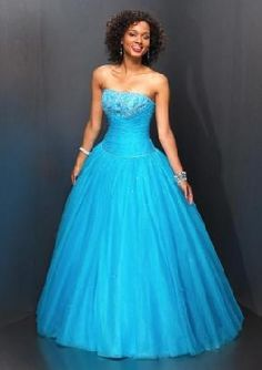 long blue prom dress