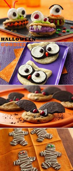 Fun and easy Halloween party treats - owl cookies, bat cookies, mummy cookies, monster cookies - Oh my!