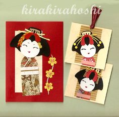 JAPANESE Oriental GEISHA KOKESHI Doll Paper Piecing Cards (1 A6 card plus 2 gift tags). $7.80, via Etsy.