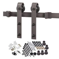 Features:  -Material: Steel.  -Includes all mounting hardware.  -Anti-jump discs prevent hanger wheels from jumping off track.  -Have pre-drilled holes.  -Rollers material: Metal.  Style: -Contemporar