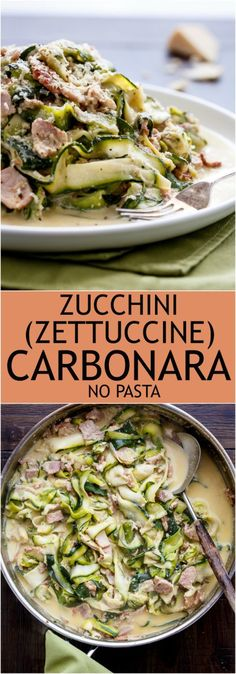 Zucchini (Zettuccine) Carbonara #LowCarb #NoPasta #GlutenFree | http://cafedelites.com