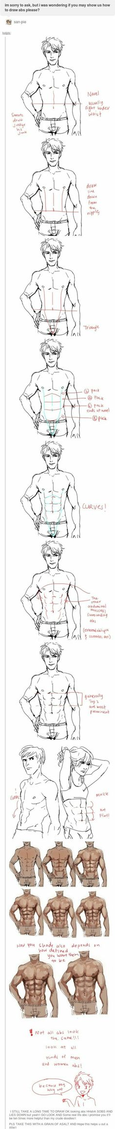 Manga Drawing Tips how to draw abs - Body Reference, Anatomy Reference, Art Reference Poses, Drawing Reference, Drawing Poses, Drawing Tips, Drawing Sketches, Art Drawings, Sketching