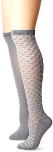 Ellen Tracy Women's 2 Pack Knee High Geo Diamond Socks