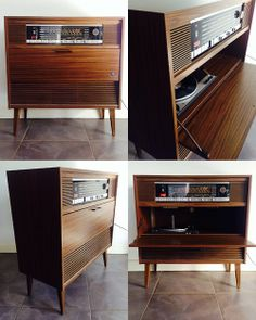 Vintage mid century zenith console stereo totally refurbished am turntable Radios, Entertainment Center Kitchen, Entertainment Table, Vintage Stereo Console, Floating Tv Shelf, Radio Antigua, Audio Room, Built In Storage, Vinyl