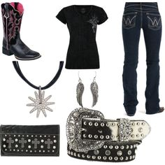 Bad Girl Country, created by e-shaffer on Polyvore I want those boots and the belt I have the earrings