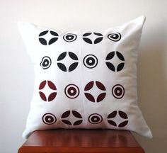 Red and Black Abstract Pillow Cover Hand by AnyarwotDesigns, $20.00
