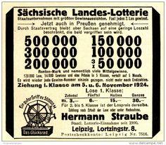Original-Werbung/ Anzeige 1924 - SÄCHSISCHE LANDES-LOTTERIE / STRAUBE - LEIPZIG - ca. 80 x 75 mm