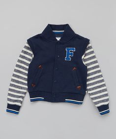 Look at this #zulilyfind! Navy Letterman Jacket - Toddler & Boys by French Connection #zulilyfinds