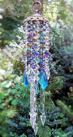 Jeweled Summer's Twilight Antique Crystal Wind Chime